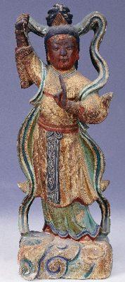 臨水夫人陳靖姑的神像,雖然老舊但著色仍然完整可辨