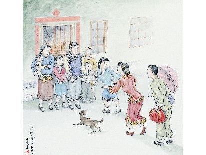 繪畫中新郎提著禮物打著傘陪同新娘回娘家,受到家人歡迎以外連家中的狗都出來迎接了