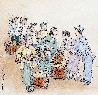 繪畫中數名親友帶了幾擔子的大餅與穿著正式的男女交談中